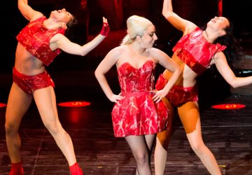 Lady Gaga v slávnom kostýme z falošného mäsa počas turné Born This Way © Wikipedia.org